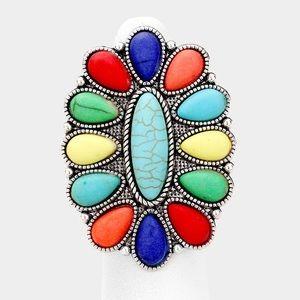 Squash Blossom Natural Stone Metal Adjustable Ring